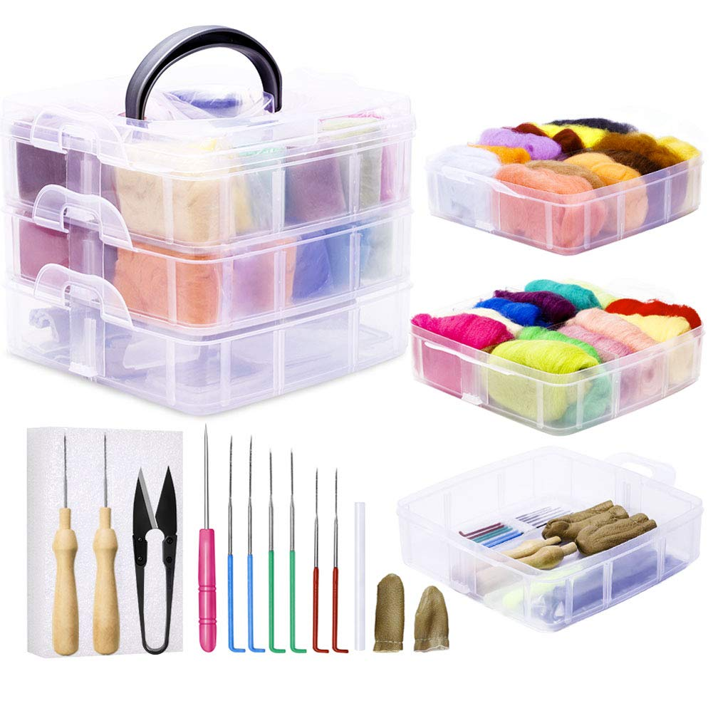 Needle Felting Kit, 24 Colors Wool Roving for Felting (5g/Color), Complete Needle Felting Starter Kit with Basic Felt Tools and Supplies Wool Fibre Spinning Craft Wet Felting Material for Beginners