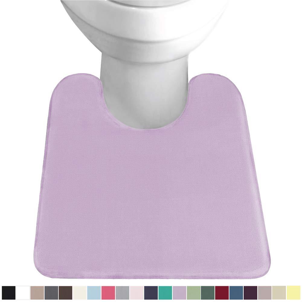 Gorilla Grip Original Thick Memory Foam Contoured Toilet Bath Rug 22.5x19.5, U Shape, Cushioned Floor Mats, Absorbent Cozy Bathroom Mat Rugs, Machine Wash and Dry, Plush Bath Room Carpet, Soft Purple