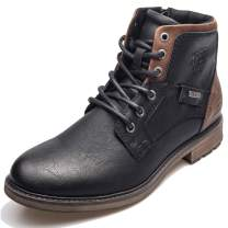 XPER Boots for Men Motorcycle Combat Boots Brown Fashion Lace up Ankle Winter Shoes Casual Dress