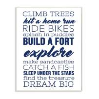 Stupell Home Décor Climb Trees Dream Big Navy with White Wall Plaque Art, 10 x 0.5 x 15, Proudly Made in USA