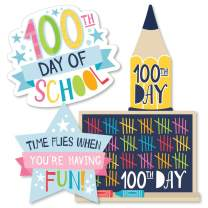 Big Dot of Happiness Happy 100th Day of School - Pencil, Chalkboard and Star Decorations DIY 100 Days Party Essentials - Set of 20