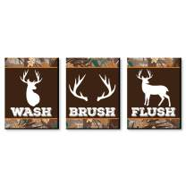 Big Dot of Happiness Gone Hunting - Kids Bathroom Rules Wall Art - 7.5 x 10 inches - Set of 3 Signs - Wash, Brush, Flush