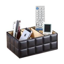 UnionBasic Desk Organizer - 4 Compartments for Pencil, Remote Control, Mobile Phone, Business Cards, Stapler, Cosmetics Holder Storage Box (Rectangle, Black)