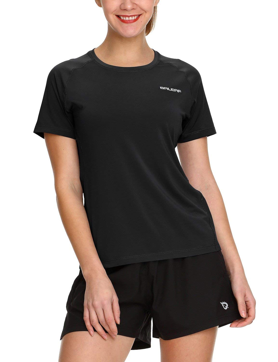 BALEAF Women's Running Shirts Quick Dry Short Sleeve Exercise Tops Round Neck
