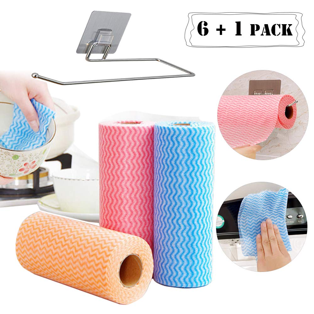 Eseres 6 Rolls Non-Woven Water Ripple Absorbent Dish Cleaning Towels Environmentally Friendly Disposable Kitchen Dishcloths-50 Pcs