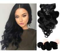 """Clip in Hair Extensions Human Hair Clip on Remy Hair Extensions for Woman Straight 90g Double Weft 7 Pieces 16 Clips #4 Soft Silky Real Brazilian Hair Extensions (14"""" 110g, Jet Black)"""