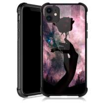 iPhone 11 Case,Black Rose Moon iPhone 11 Cases for Girls,Tempered Glass Back Cover Anti Scratch Reinforced Corners Soft TPU Bumper Shockproof Case for iPhone 11 Pink Nebula Delicate and Charming