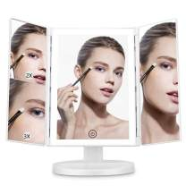 LED Lighted Makeup Mirror, Gustala Vanity Mirror with Lights Touch Screen Tri-fold 1x 2x 3x Magnification, 180°Adjustable Rotation, Battery and USB Powered LED Cosmetic Light Up Mirror