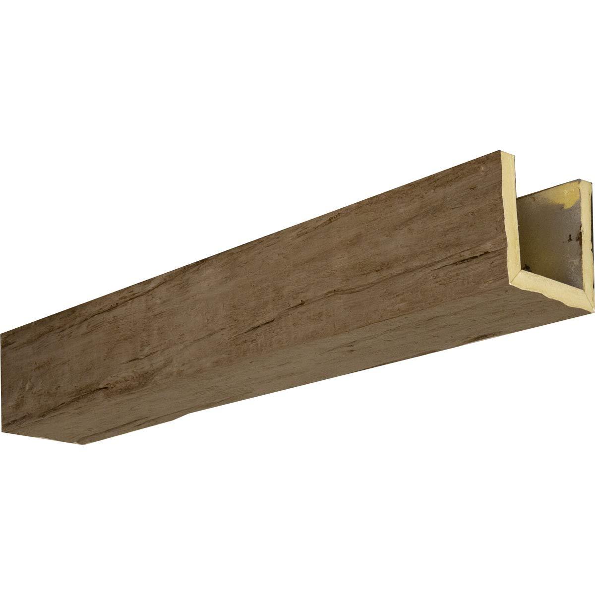 """Ekena Millwork BMRW3C0060X120X240HD 6""""W x 12""""H x 20'L 3-Sided (U-Beam) Riverwood Faux Wood Beam, Honey Dew, 6 inch W x 12 inch H x 20'L"""