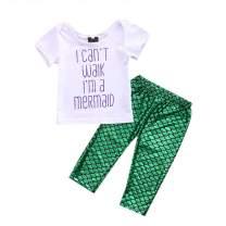 Toddler Girls Mermaid Shell Tank Vest T Shirt Top Mermaid Leggings Tights Pants Headband 3pcs