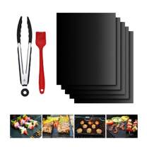 The perseids BBQ Grill Mat 5pcs, 100% Non-Stick Grilling Baking Mats Reusable Easy to Clean w/Silicone Brush & Kitchen Tong, Barbecue Accessories Kit for Gas, Charcoal, Electric Grill Oven in Black