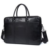 BOSTANTEN Leather Briefcase Messenger Business Bags Laptop Handbag Black