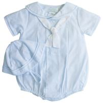 Petit Ami Baby Boys' Sailor Romper with Embroidered Anchors