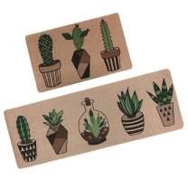 "Kitchen Mat,GABWE 2 Piece Kitchen Rugs Comfort Vintage Microfiber Non-Slip Rubber Back Doormat mat Area Rug(18""X29""+18""X47"" Cactus)"