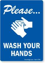 """SmartSign Please Wash Your Hands Label   3.5"""" x 5"""" Laminated Vinyl, Hand Washing Stickers"""
