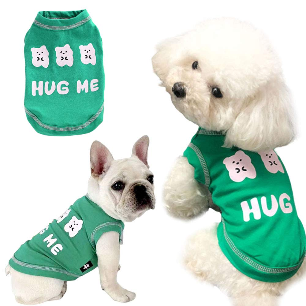Dog Shirt Pet Shirts Cotton Puppy Clothes Summer Dog Vest Cat Shirts Breathable Pet Apparel Dog Clothes for Small to Medium Dog (Green, XL)