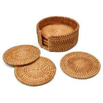 Yazi Rattan Coasters Handcrafted Eco-friendly Coffee Cupmat Tea Cup Mat Teapot Vine Placemat Rattan Decorative Holder for Kitchen Table Drinks Crafts Table Desk Office Hote (Orange, Diameter 4 inches)