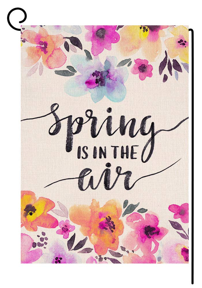 BLKWHT Spring is in The Air Garden Flag Vertical Double Sided 12 x 18 Inch Flower Yard Decor