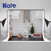 Kate 7×5ft Interior Light Christamas Kitchen Photography Backdrop White Christmas Background Home Kitchen Xmas Loft Style Backdrop for New Year Christmas Decoration