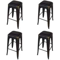 GIA 24-Inch Backless Counter Height Stool, 4-Pack, Antique Black/Black Faux Leather Seat