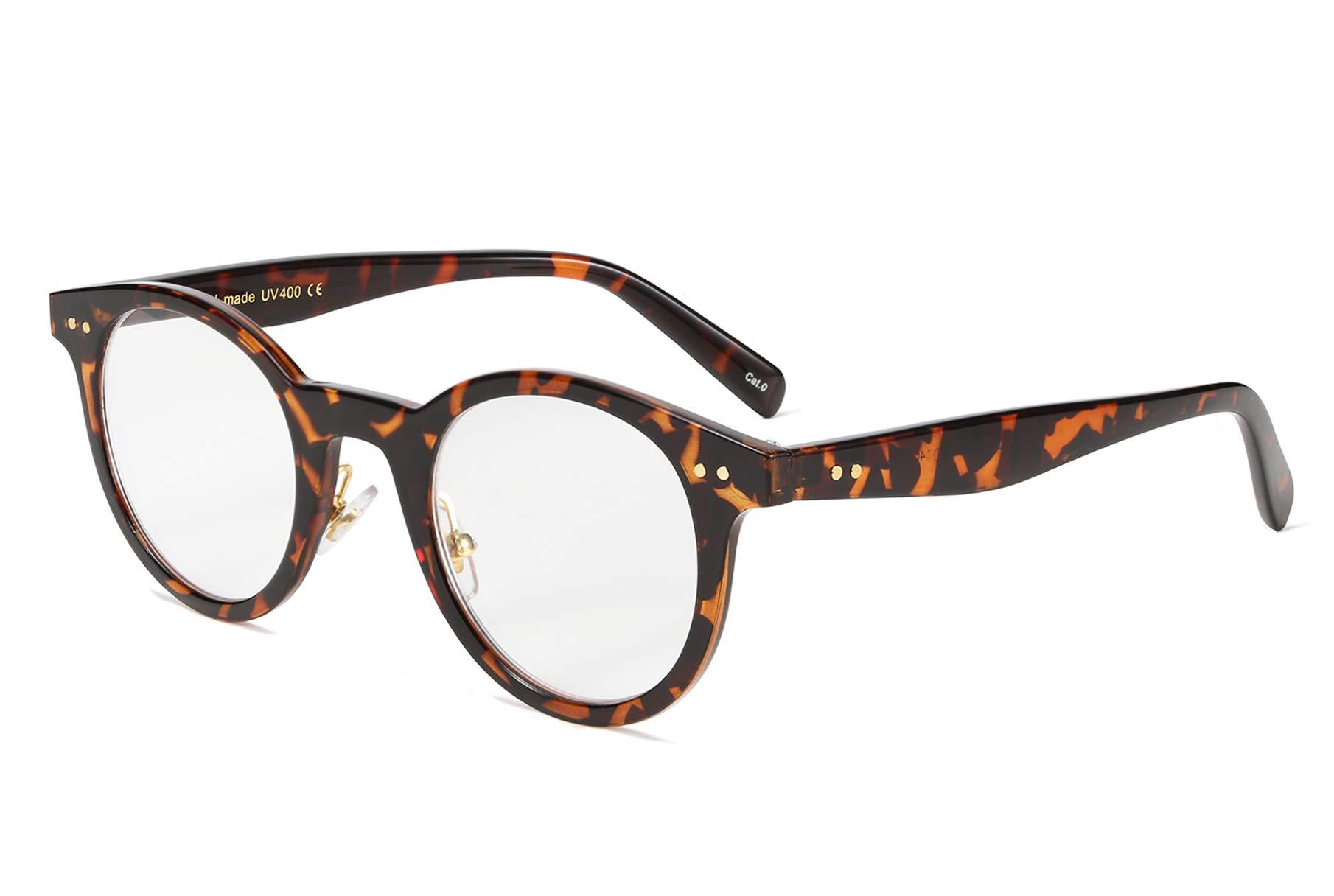 FEISEDY Reading Glasses Standard Fit Full Frame Readers Round Glasses for Men and Women B2478