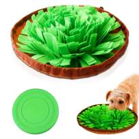 AUBBC Snuffle Mat, Durable Dog Puzzle Toys Interactive Feeding Mat with Silicone Frisbee Encourage Natural Foraging Skills and Nose Work Training - Machine Washable