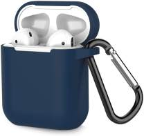 Airpods Case, Coffea AirPods Accessories Shockproof Case Cover Portable & Protective Silicone Skin Cover Case for Airpods 2 & 1 (Front LED Not Visible) - Navy Blue