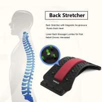 Lower Back Stretcher with Magnetic Acupressure Points Multi-Level Back Massager Lumbar for Pain Relief Chronic Herniated Disc Sciatica Scoliosis Spinal Back Stretcher for Relieve Back Pain
