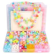 Beads Art Crafts Toys, DIY Beads Kits 24 Different Types and Shapes Colorful Acrylic Beads for Girls Children Necklace and Bracelet Colorful Beading Jewelry Sets with Accessories for Kids (580 Beads)