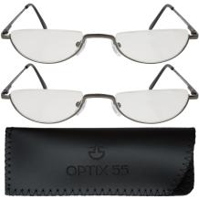 Reading Glasses Men - Half Frame Readers - 2 Pack Fashion Men's Reading Glasses with Pouch