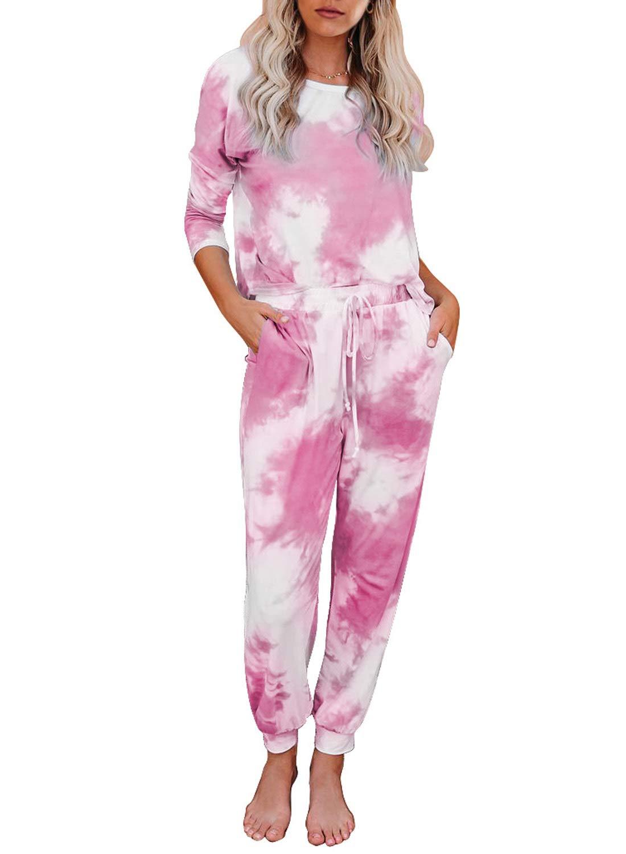 Elapsy Womens Tie Dye Printed Long Sleeve Pajamas Set Soft Top and Pants Pockets PJ Set Nightwear Sleepwear Loungewear