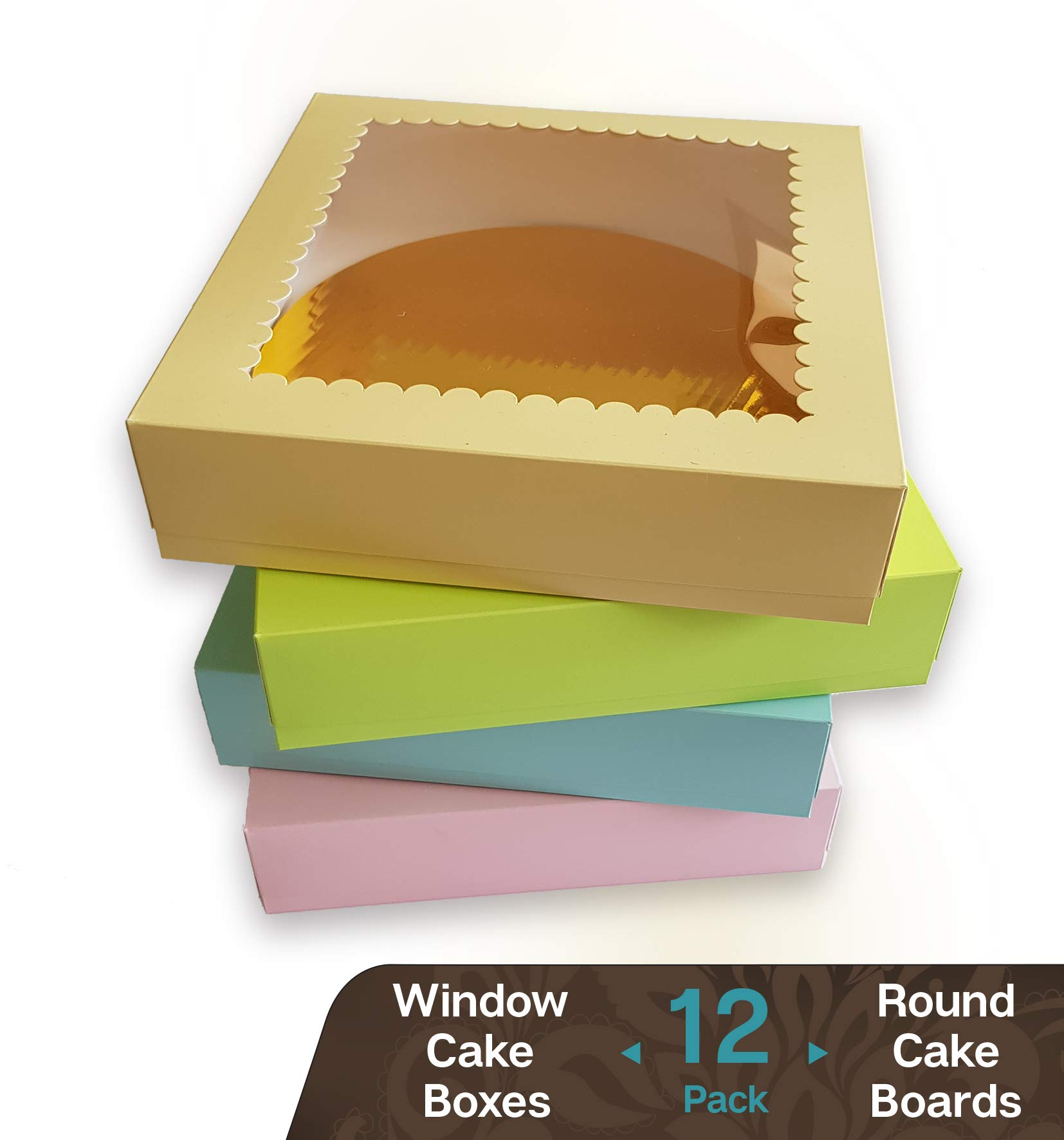 Cookeezz Couture - Cake Boxes Heavy Duty Window 9x9x2.5 inch Donuts Boxes Great for Bakery, Pies, Cakes, Cupcake - 12 Pack Cake Boxes at Assorted 4 Pastel Colors. (Cake Box 9x9x2.5 inch)