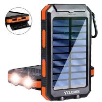 Solar Charger,Yelomin 20000mAh Portable Outdoor Waterproof Mobile Power Bank,Camping External Backup Battery Pack Dual USB 5V 1A/2A Output 2 Led Light Flashlight with Compass