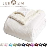 LBRO2M Sherpa Fleece Bed Blanket King Size Super Soft Fuzzy Plush Warm Cozy Fluffy Microfiber Couch Throw Velvet Double Reversible Luxurious Blankets (Ivory, King(90x104 Inches))