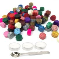 EyreLife Sealing Wax Beads - 120 Pieces Antique Octagon Wax Seal Stamp Granuel for Decorate Wedding Invite Envelope and Greeting Cards with 1 Wax Melting Spoon and 3 Candles (Colorful)