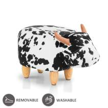 JOYBASE Washable Animal Ottoman, Footrest Stool, Soft Plush Ride on Seat (Cow)