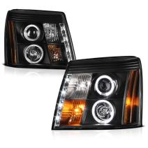 [For 2002 Cadillac Escalade Halogen Model] LED Halo Ring Black Projector Headlight Headlamp Assembly, Driver & Passenger Side