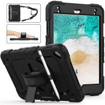 iPad 6th/5th Generation Case With Screen Protector,Herize iPad 9.7 Case With Pencil Holder,Three Layer Hybrid Shockproof Cover With 360 Degree Rotating Stand/Adjustable Hand Strap/Shoulder Strap,Air 2