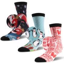 Christmas Printed Socks, Three street Fun Colorful Holiday Festive, Unisex Christmas Design Crew Dress Socks