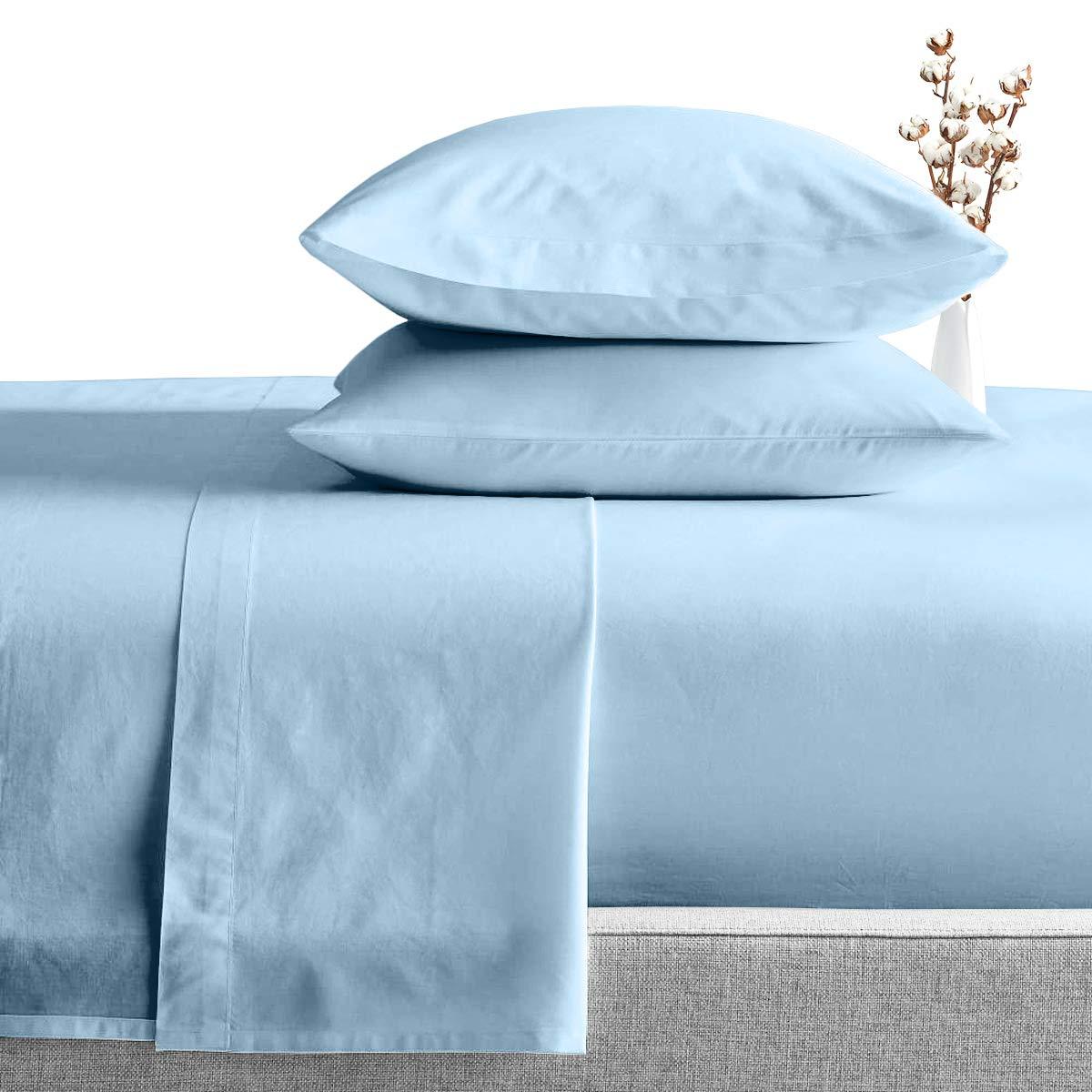 SGI bedding Three Quarter Sheets Luxury Soft 100% Egyptian Cotton - Sheet Set forThree Quarter Size 48x75 Light Blue Solid 600 Thread Count Deep Pocket