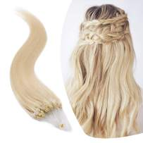 Micro Link Human Hair Extensions Micro Ring Loop Remy Hair Piece Beads Cold Fusion Stick Tipped Hair Fish Line Natural Real Hair Extension For Women 18 inch 50g 100 Strands #60 Platinum Blonde