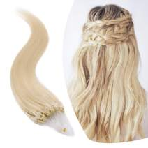 Micro Link Human Hair Extensions Micro Ring Loop Remy Hair Piece Beads Cold Fusion Stick Tipped Hair Fish Line Natural Real Hair Extension For Women 16 inch 50g 100 Strands #60 Platinum Blonde