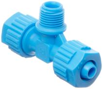 "Tefen Fiberglass Polypropylene Compression Tube Fitting, Tee Adapter, Blue, 6 mm Tube OD x 1/4"" BSPT Male x 6 mm Tube OD (Pack of 5)"