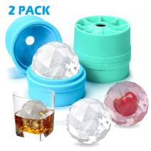 Round Ice Ball Spheres with Lid,Large 2-inch Ice Balls Molds for Whiskey&Cocktails Chilled Stackable Flexible Ice Molds for Parties,Home,Bar Use(Green+Blue 2pack)