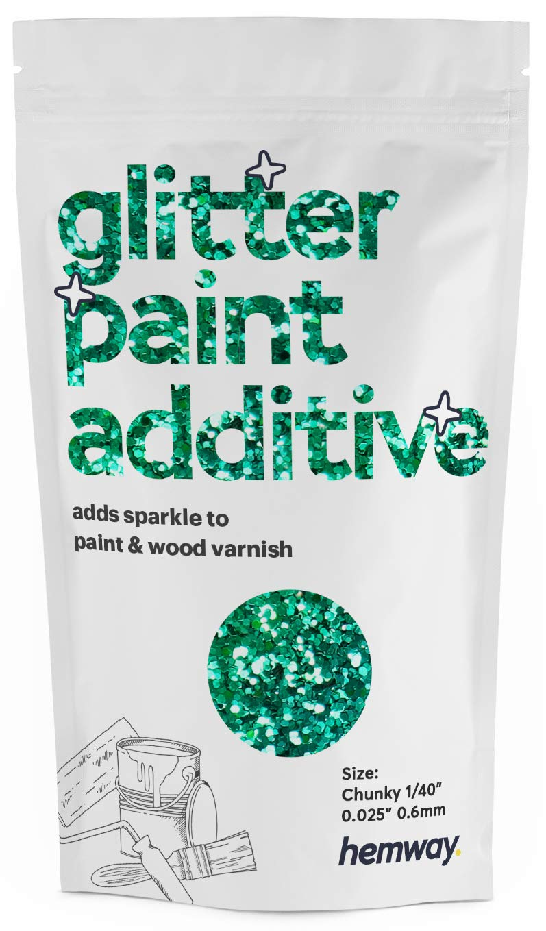 """Hemway Glitter Paint Additive Chunky 1/40"""" 0.6mm Emulsion Water Based Paints Wall Ceiling 100g / 3.5oz (Turquoise Holographic)"""