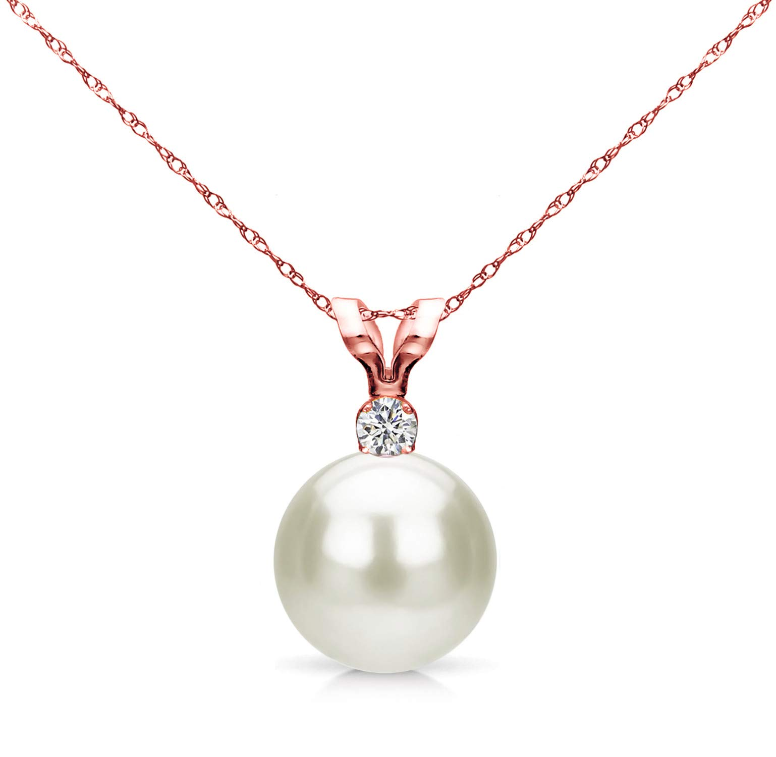 14k Gold Single 7-7.5mm White Cultured Freshwater Pearl and Diamond Pendant Necklace (G-H, SI1-SI2) - Choice of Gold Color and Diamond Size Teacher appreciation gifts