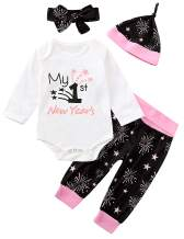Aslaylme Baby Girl My 1st New Year's Outfit Set Cute First New Year Pant Set