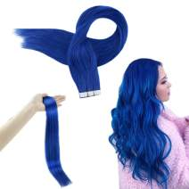 RUNATURE Skin Weft Tape in Hair 24 Inches Color Blue Human Extensions Seamless 25g 10Pcs(2.5g Per Piece) Invisible Hair Extensions