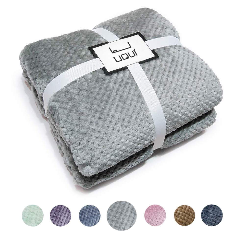"""U UQUI Flannel Fleece Luxury Throw Blanket, Grey Queen Size Jacquard Weave Pattern Cozy Couch/Bed Super Soft and Warm Plush Microfiber 300GSM (78""""x90"""")"""