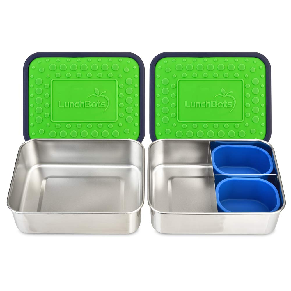 LunchBots Lite Bento Box Lunch Bundle – Includes Two Bento Boxes - One Section and Three Section Stainless Steel Containers and Silicone Cups - Eco-Friendly, Dishwasher Safe, BPA-Free - Green